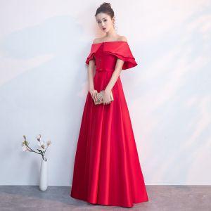 Edles Rot Abendkleider 2019 A Linie Off Shoulder Schleife Kurze Ärmel Rückenfreies Lange Festliche Kleider