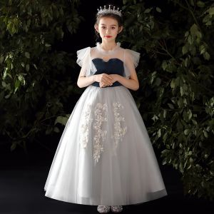 Chic / Beautiful Grey Flower Girl Dresses 2020 A-Line / Princess See-through High Neck Sleeveless Appliques Lace Beading Sequins Floor-Length / Long Ruffle