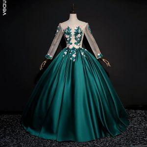 19c623c136 Elegantes Verde Oscuro Vestidos de gala 2018 Ball Gown Con Encaje Flor  Apliques Perla Rhinestone Scoop