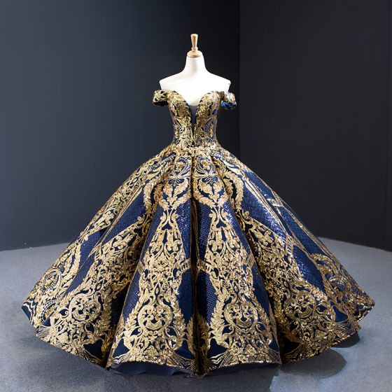 Luxury / Gorgeous Quinceañera Navy Blue Prom Dresses 2020 Ball Gown Off-The-Shoulder Deep V-Neck Short Sleeve Gold Appliques Sequins Floor-Length / Long Ruffle Backless Formal Dresses