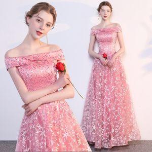 Moderne / Mode Rose Bonbon Robe De Soirée 2018 Empire De l'épaule Manches Courtes Étoile Brodé Perlage Longue Volants Dos Nu Robe De Ceremonie