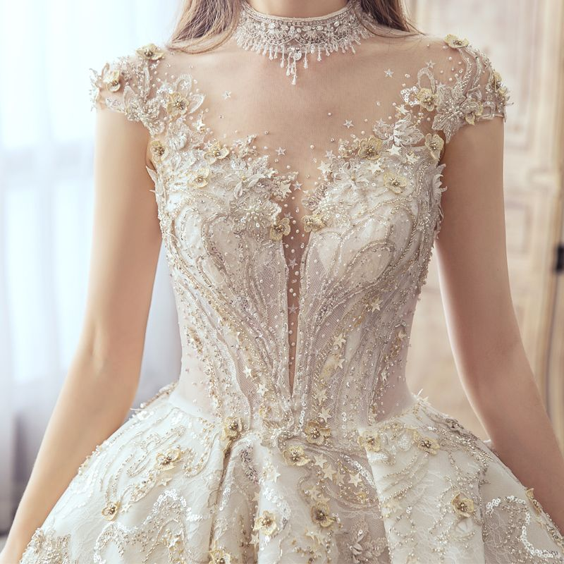 Luxury / Gorgeous Champagne Handmade  Beading Wedding Dresses 2019 A-Line / Princess Scoop Neck Lace Flower Star Sequins Cap Sleeves Backless Cathedral Train
