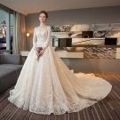 Bling Bling Champagne See-through Wedding Dresses 2018 A-Line / Princess Square Neckline Long Sleeve Backless Appliques Sequins Glitter Tulle Beading Ruffle Cathedral Train