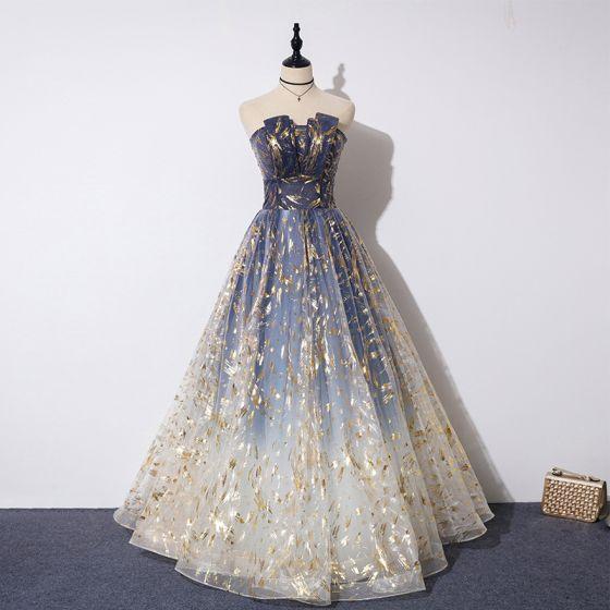 Elegant Navy Blue Gradient-Color Evening Dresses  2019 A-Line / Princess Strapless Sleeveless Beading Glitter Tulle Floor-Length / Long Ruffle Backless Formal Dresses