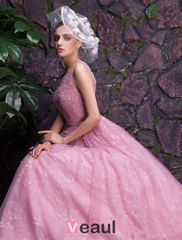 Glamoureuze Ronde Hals Kralen Glitter Organza Galajurk