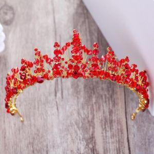 Mooie / Prachtige Rode Rhinestone Goud Tiara 2018 Metaal Kristal Huwelijk Accessoires