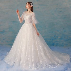 Chic / Beautiful Ivory Wedding Dresses 2018 A-Line / Princess Star Tulle Lace Flower Scoop Neck Backless 1/2 Sleeves Chapel Train Wedding