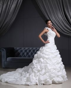 Taffeta One Shoulder Ruffle Chapel A-line Bridal Gown Wedding Dress