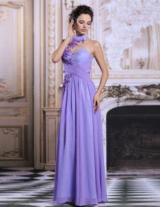 Manches Élégante Percé Longue Robe De Soirée Violet