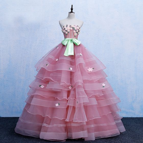 Chic / Beautiful Candy Pink Prom Dresses 2019 Ball Gown Strapless Bow Lace Flower Sleeveless Backless Cascading Ruffles Sweep Train Formal Dresses