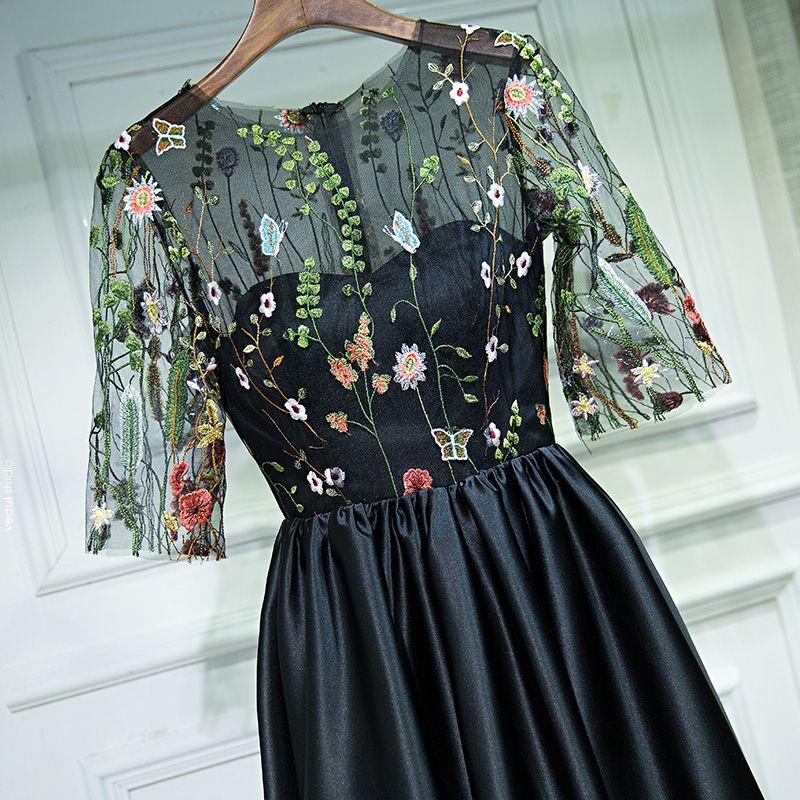 Chic / Beautiful Black Formal Dresses Evening Dresses  2017 Lace Flower Scoop Neck 1/2 Sleeves Short A-Line / Princess