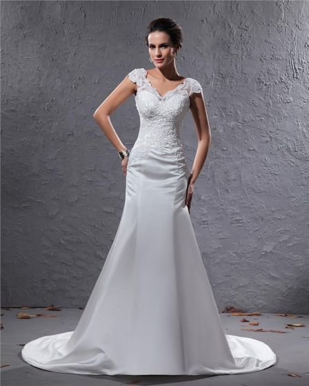 Elegant Satin Applique Beaded V Neck Floor Length Court Train Sheath Wedding Dress