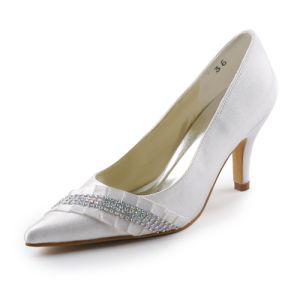 Belle Bout Pointu Milieu Talons Pompes Volants Chaussures De Mariée Avec Strass