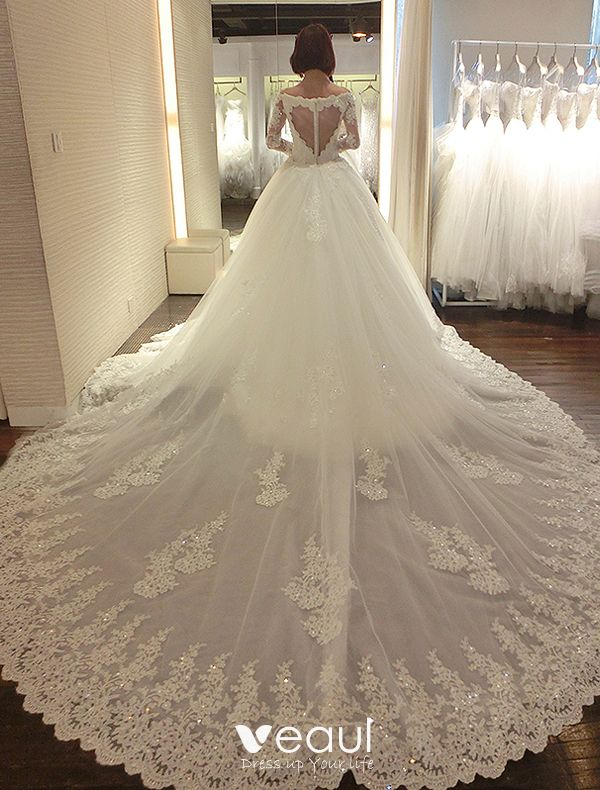 floral long Trailing Sleeve Mermaid Princess Wedding Dress Chapel Bride Gown new