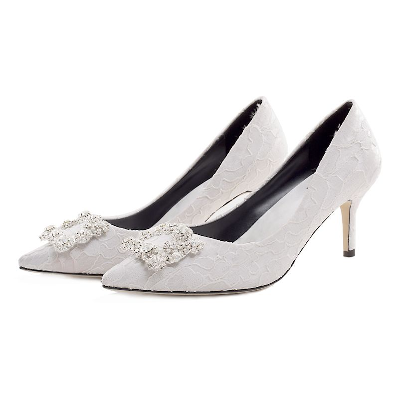 Classy Ivory Wedding Shoes 2019 Leather Lace Rhinestone 7 cm Stiletto Heels Pointed Toe Wedding Pumps