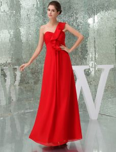 2015 Simple Empire One Shoulder Pleated Long Bridesmaid Dresses