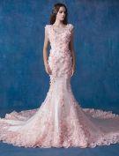 Glamourösen Rosa Brautkleid Meerjungfrau Organza Applique Brautkleider