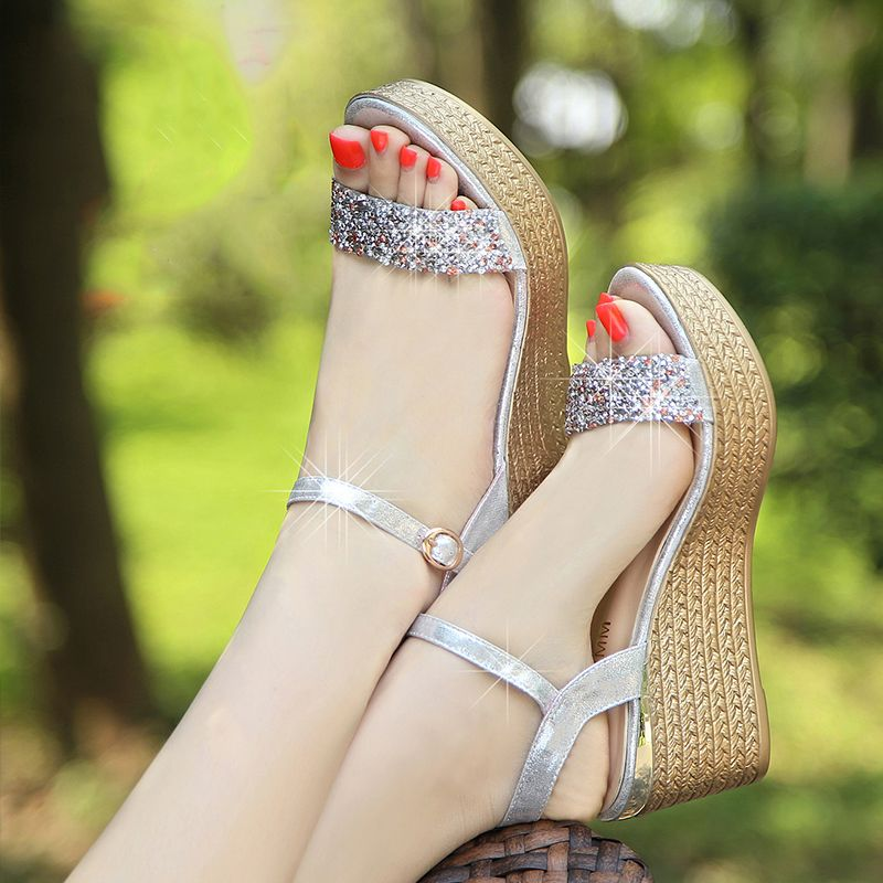 Classic 2017 Open / Peep Toe Outdoor / Garden Leatherette Gold Silver Summer Rhinestone Suede Mid Heels Thick Heels 7 cm Sandals Womens Sandals