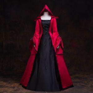 Vintage Middeleeuws Gotische Rode Zwarte Baljurk Galajurken 2021 Vierkante Halslijn Lange Mouwen Lange Kanten Satijn Cosplay Gala Gelegenheid Jurken