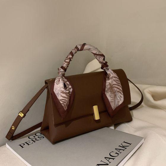 Vintage Braun Quadratische Handtasche Schultertaschen Umhängetasche 2021 PU Damentaschen