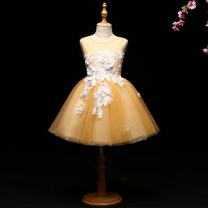 Chic / Beautiful Yellow Flower Girl Dresses 2017 Ball Gown Appliques Scoop Neck Backless Sleeveless Short Wedding Party Dresses