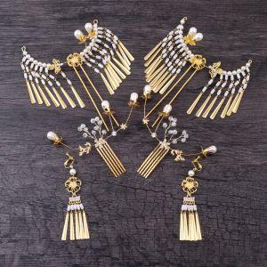 Chic / Belle Doré Bijoux Mariage 2019 Métal Cristal Perle Perlage Accessoire Cheveux Boucles D'Oreilles Mariage Accessorize
