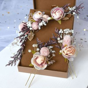 Flower Fairy Pearl Pink Headpieces Wedding Accessories 2020 Alloy Flower Pearl Bridal Hair Accessories