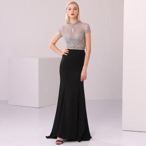 High-end Black Evening Dresses  2020 Trumpet / Mermaid Scoop Neck Handmade  Beading Crystal Rhinestone Short Sleeve Floor-Length / Long Formal Dresses