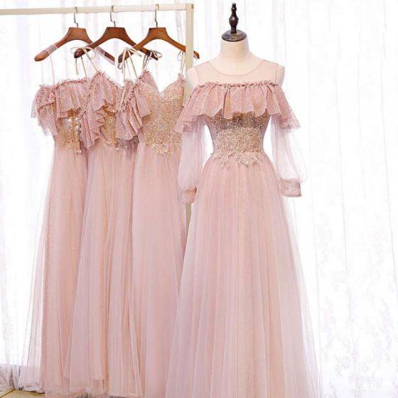 Mooie / Prachtige Parel Roze Bruidsmeisjes Jurken 2020 A lijn Ruglooze Kralen Glans Tule Lange Ruche