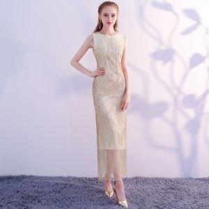 Sparkly Bling Bling Gold Tea-length Evening Dresses  2018 Trumpet / Mermaid U-Neck Tulle Beading Sequins Formal Dresses
