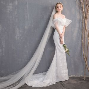 Amazing / Unique White Wedding Dresses 2018 Trumpet / Mermaid Spaghetti Straps Backless Short Sleeve Sweep Train Wedding