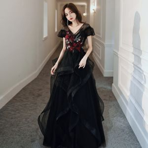 Fashion Black Evening Dresses  2020 A-Line / Princess V-Neck Rhinestone Sequins Lace Flower Short Sleeve Backless Cascading Ruffles Floor-Length / Long Formal Dresses