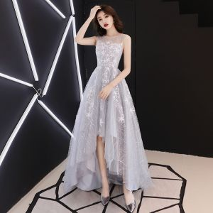 High Low Grey See-through Prom Dresses 2019 A-Line / Princess Scoop Neck Sleeveless Star Appliques Lace Asymmetrical Ruffle Formal Dresses