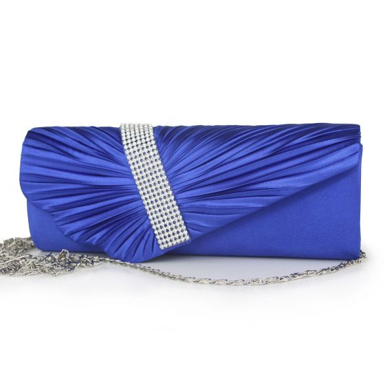 Modern / Fashion Royal Blue Clutch Bags Beading Rhinestone Velour Cocktail Party Evening Party Prom Accessories 2019