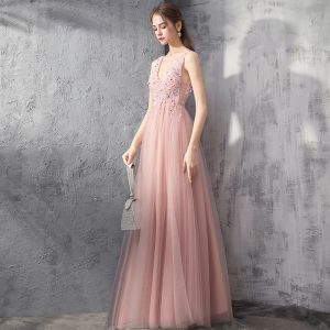 Elegant Pearl Pink Evening Dresses  2019 A-Line / Princess Deep V-Neck Sleeveless Beading Floor-Length / Long Ruffle Backless Formal Dresses