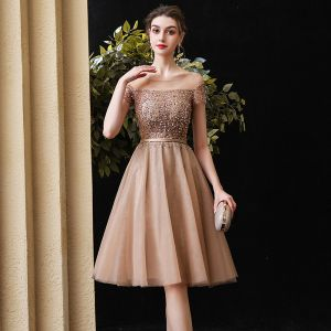 Elegant Champagne Party Dresses 2020 A-Line / Princess See-through Scoop Neck Short Sleeve Beading Sequins Sash Knee-Length Ruffle Backless Formal Dresses