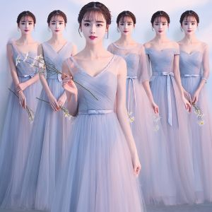 Discount Grey Bridesmaid Dresses 2019 A-Line / Princess Bow Sash Floor-Length / Long Ruffle Backless Wedding Party Dresses