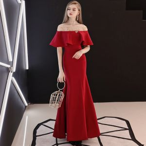 Charming Burgundy Evening Dresses  2018 Trumpet / Mermaid Sequins Scoop Neck Backless 1/2 Sleeves Ankle Length Formal Dresses