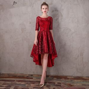 Chic / Beautiful Burgundy Asymmetrical Evening Dresses  2017 A-Line / Princess Lace Sequins Bow Scoop Neck 1/2 Sleeves Formal Dresses