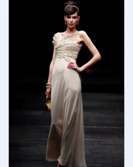 Oblique V Collar Floor-length Composite Filament Evening Dress