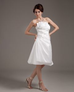 Chiffon Ruffle Sash Strapless Short Bridal Gown Wedding Dresses
