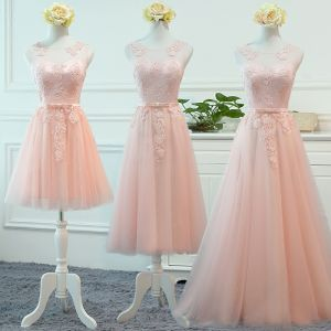 Chic / Beautiful Pearl Pink See-through Bridesmaid Dresses 2018 A-Line / Princess Scoop Neck Sleeveless Appliques Lace Bow Sash Ruffle Backless Wedding Party Dresses
