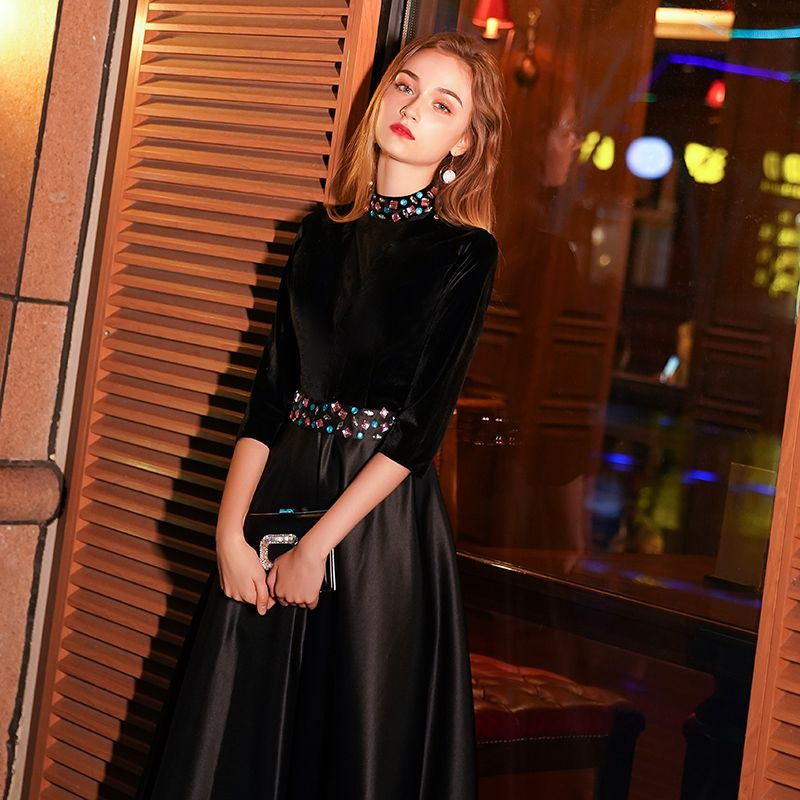 Modern / Fashion Black See-through Suede Evening Dresses  2019 A-Line / Princess High Neck 3/4 Sleeve Crystal Floor-Length / Long Ruffle Satin Formal Dresses