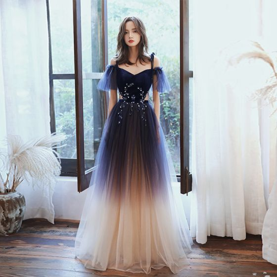 Chic / Beautiful Navy Blue Gradient-Color Evening Dresses  2020 A-Line / Princess Spaghetti Straps Short Sleeve Appliques Sequins Glitter Tulle Sash Floor-Length / Long Ruffle Formal Dresses