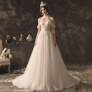 Charming Ivory Wedding Dresses 2019 A-Line / Princess Halter Beading Sequins Lace Flower Sleeveless Backless Court Train