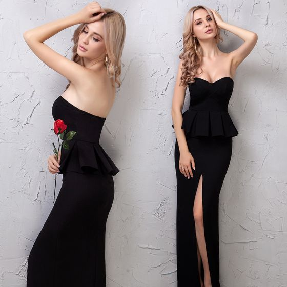Sencillos Negro Vestidos de noche 2019 Sin Tirantes Sin Mangas Sin Espalda La altura del tobillo Vestidos Formales