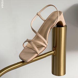 Schöne Sommer Nude Freizeit Wildleder Sandalen Damen 2020 Leder 6 cm Thick Heels Peeptoes Sandaletten