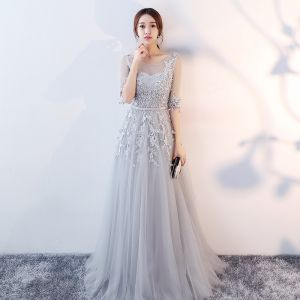 Elegant Grey Evening Dresses  2017 A-Line / Princess Scoop Neck 1/2 Sleeves Appliques Lace Sash Floor-Length / Long Ruffle Pierced Backless Formal Dresses
