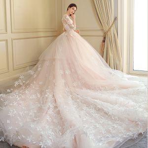 Mode Brautkleider 2018 Ballkleid Mit Spitze Applikationen Stickerei Pailletten Rundhalsausschnitt 3/4 Ärmel Königliche Schleppe Hochzeit