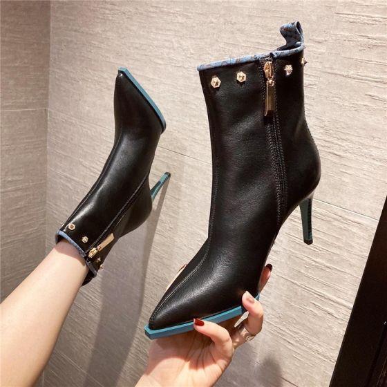 Moda Negro Ropa de calle Tobillo Botas de mujer 2020 Remache 8 cm Stilettos / Tacones De Aguja Punta Estrecha Botas